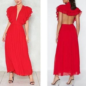 pleated cape back maxi dress